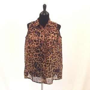 Tops - Animal Print Cold Shoulder Button Down Blouse